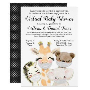 boy baby animals mask drive by baby shower invitation
