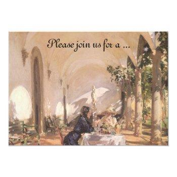 breakfast in the loggia by sargent, bridal shower invitation