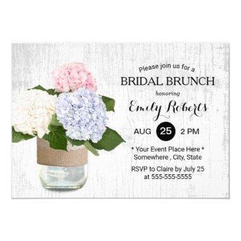 bridal brunch rustic hydrangea floral mason jar invitation