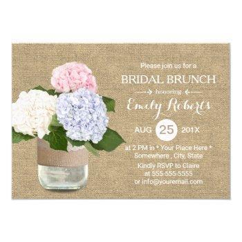 bridal brunch rustic hydrangea mason jar burlap invitation