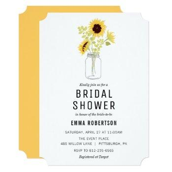 bridal brunch sunflower bouquet shower invitation