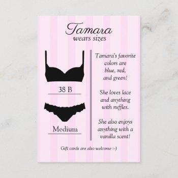 bridal lingerie size insert card