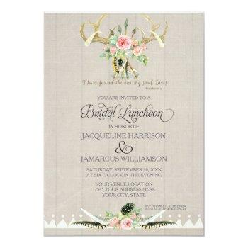 bridal luncheon boho feather deer antler roses art invitation