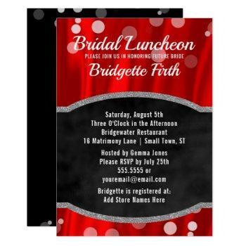 bridal luncheon | elegant red black bridal shower invitation