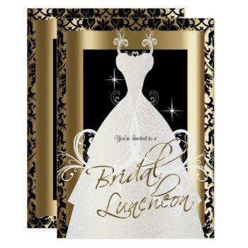 bridal luncheon in black damask & metallic gold invitation