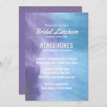 bridal luncheon   pastel lavender purple blue invitation