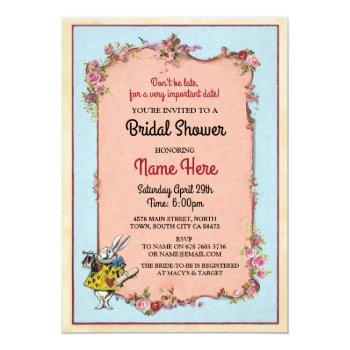 bridal shower alice wonderland rabbit party invite