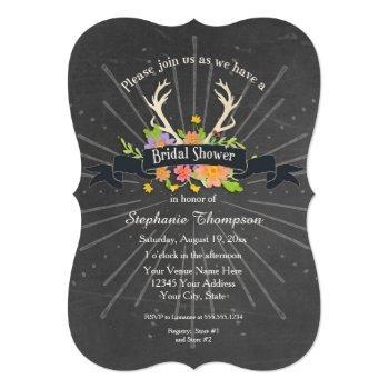 bridal shower antler wildflower starburst rustic invitation