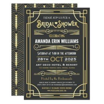bridal shower art deco elegant gold gray retro invitation