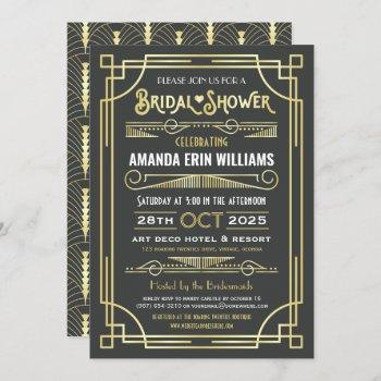 bridal shower art deco elegant gold gray retro invitation