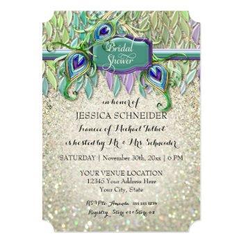 bridal shower art deco peacock feather glitter invitation