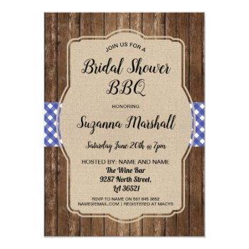 bridal shower bbq invite gingham burlap invitation