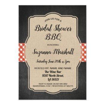 bridal shower bbq invite red gingham burlap invite