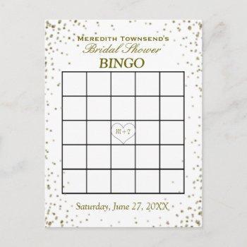 bridal shower bingo | gold confetti invitation postcard