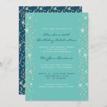 bridal shower birthday coral confetti blue invitation