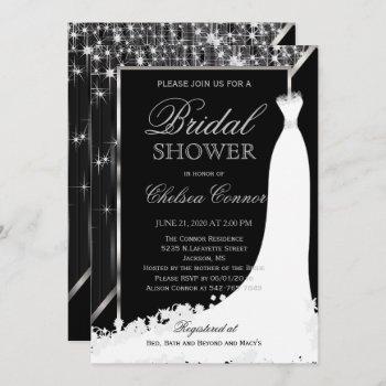 bridal shower - black and silver star lights invitation