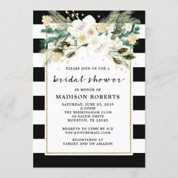 bridal shower black and white stripes flowers invitation
