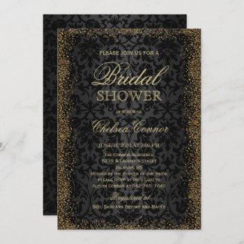 bridal shower - black damask and gold confetti gli invitation