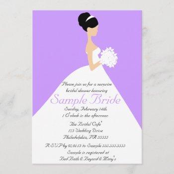bridal shower black hair  bride invitation