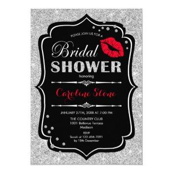 bridal shower - black red silver invitation