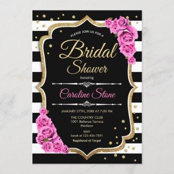 bridal shower - black white stripes and pink roses invitation