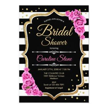 bridal shower - black white stripes and pink roses invitation