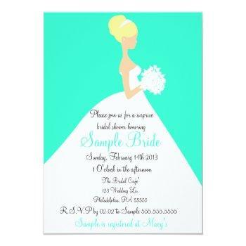 bridal shower blonde bride invitation