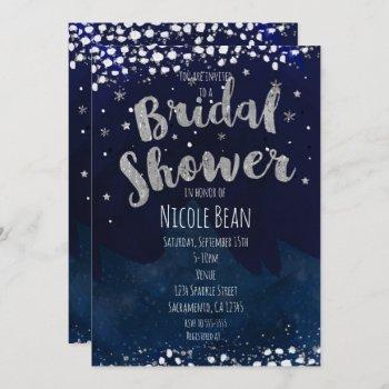 bridal shower blue & silver starry invitations