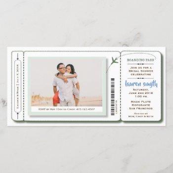 bridal shower boarding pass photo invite