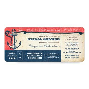 bridal shower boarding pass-tickets with rsvp invitation