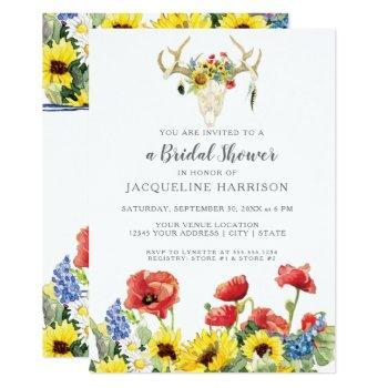bridal shower boho deer skull antler w sunflowers invitation