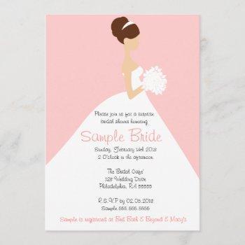 bridal shower brown hair bride invitation