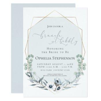 bridal shower | brunch & bubbly dusty blue floral invitation
