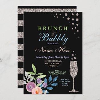 bridal shower brunch & bubbly silver flower invite
