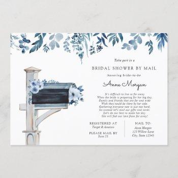 bridal shower by mail blue flowers in mailbox invitation