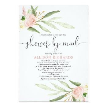 Small Bridal Shower By Mail Blush Pink Greenery Gold Invitation Front View