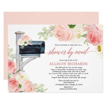 bridal shower by mail blush pink white greenery invitation