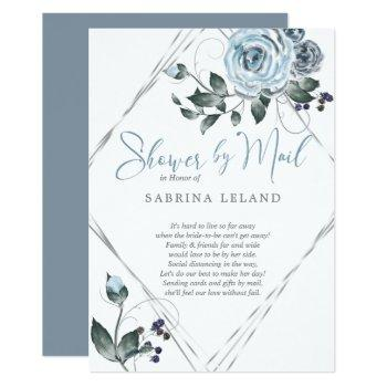 bridal shower by mail dusty blue floral silver invitation