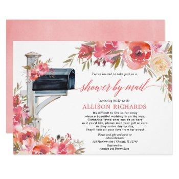 bridal shower by mail pink coral floral botanical invitation