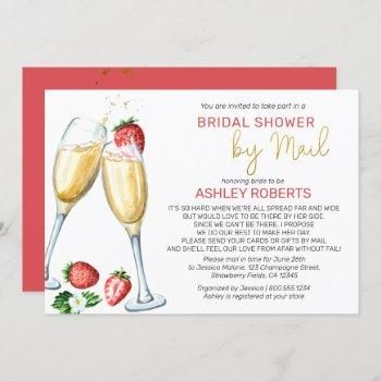 bridal shower by mail - strawberries champagne invitation