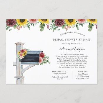bridal shower by mail sunflowers and roses mailbox invitation