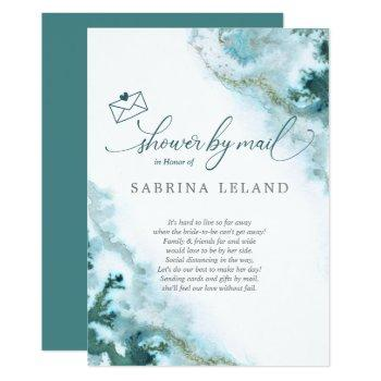 bridal shower by mail teal watercolor moss agate invitation