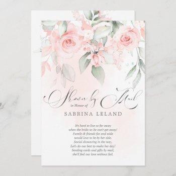 bridal shower by mail  vintage blush pink roses invitation