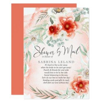 bridal shower by mail watercolor coral flowers invitation