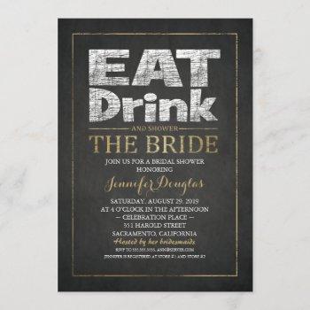 bridal shower chalkboard gold effect funny vintage invitation