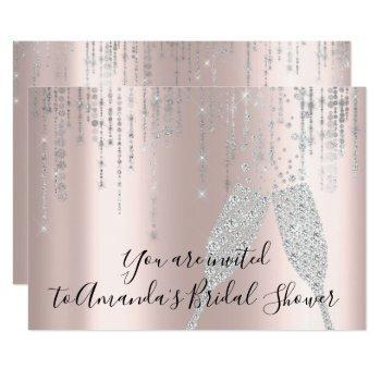 bridal shower champaigne glass bubbles silver rose invitation