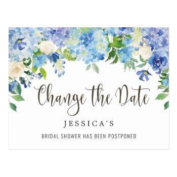 bridal shower change the date blue hydrangeas postcard