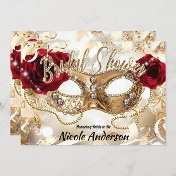 bridal shower cream gold red roses masquerade invitation