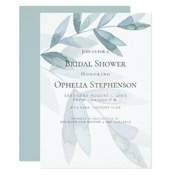 bridal shower | dusty blue watercolor eucalyptus invitation