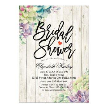bridal shower elegant succulent plants rustic wood invitation
